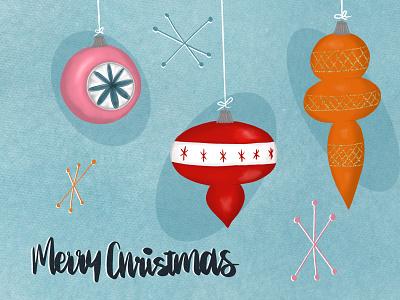 Retro Christmas typography graphic design raster design procreate illustration