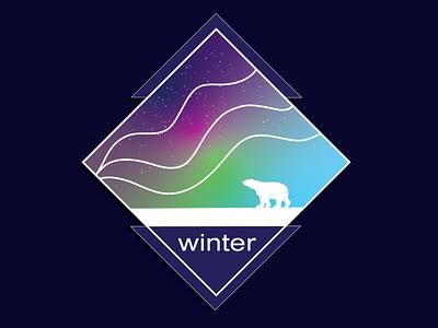 Winter - Northern Lights logo ui vector branding typography graphic design raster procreate design illustration