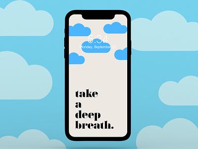 take a deep breath background clouds breathe iphone logo branding graphic design design