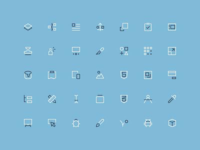 Design & Dev - Outline Mini Icons nucleo design icons shapes design 16px mini outline icons