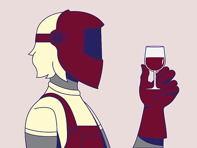 Wine + Welder woman red vector illustrator character welder wine