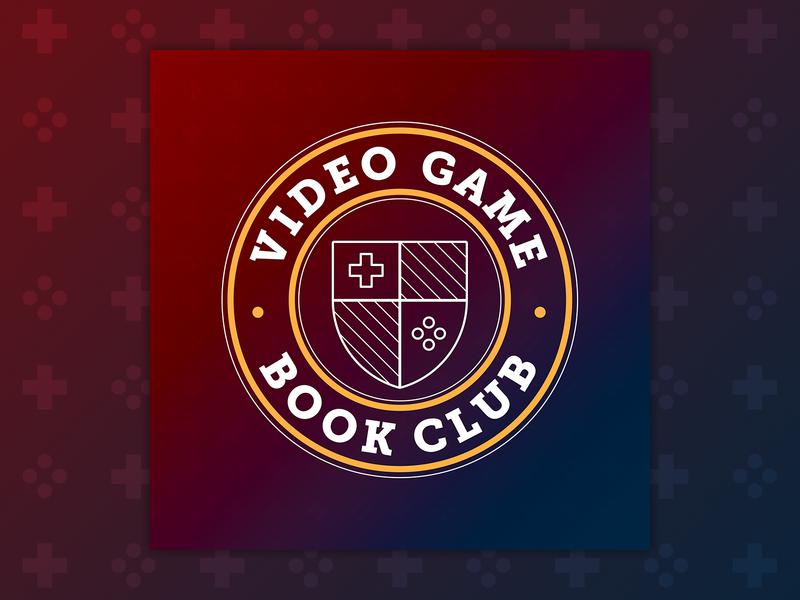 Video Game Book Club - Podcast Art graphic design branding illustration design logo academic crest video game podcast gaming