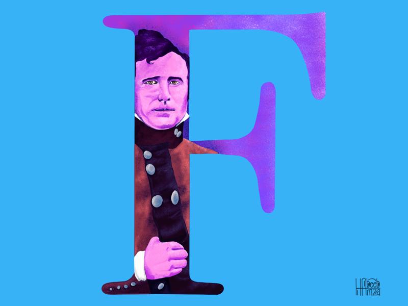 F-Franklin Pierce digitalart simple illustrations letters ui clean illustrations