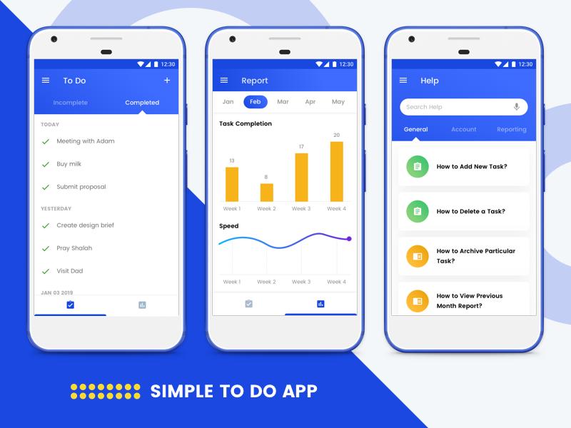 Simple To Do App - To Do, Report, Help graph todos mobile app design app design ux ui