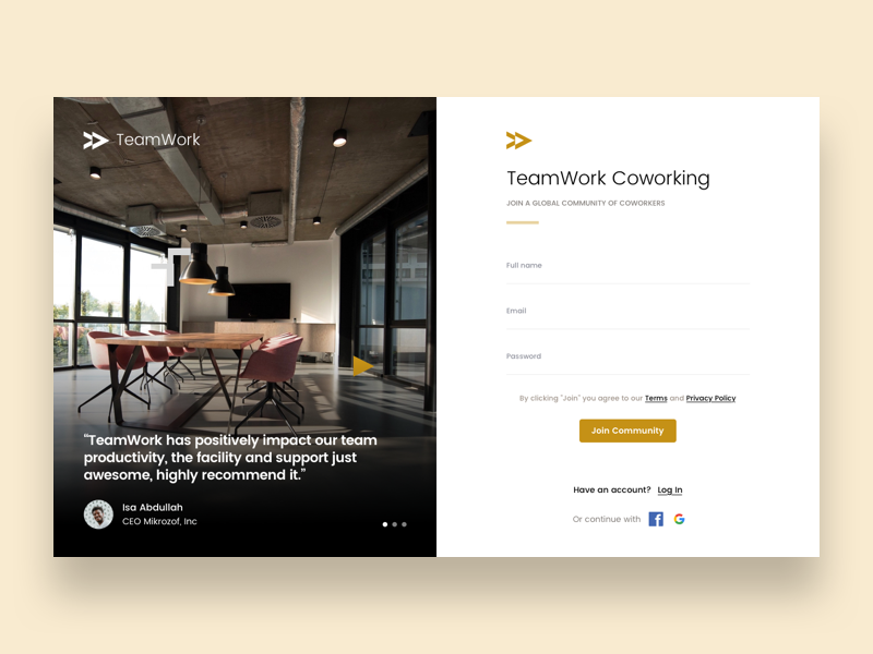 Coworking Space Sign Up coworking space clean registration signup web ux ui app