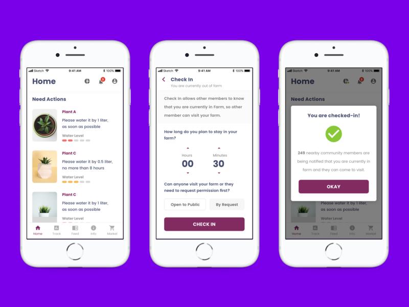 Plant Tracker App purple white iot ios clean mobile app ux ui