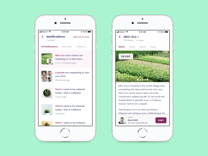 Plant Tracker App - Notification ios mobile app ux ui