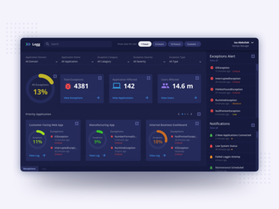 Exceptions and Log Dashboard