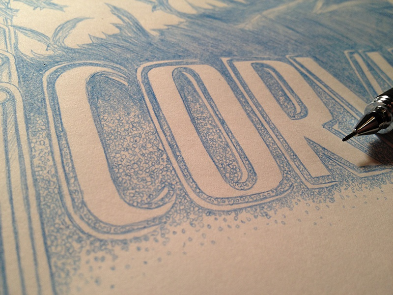 Corvus : Process 01 short movie pencil typography drawing illustration sketch type hand drawn poster film