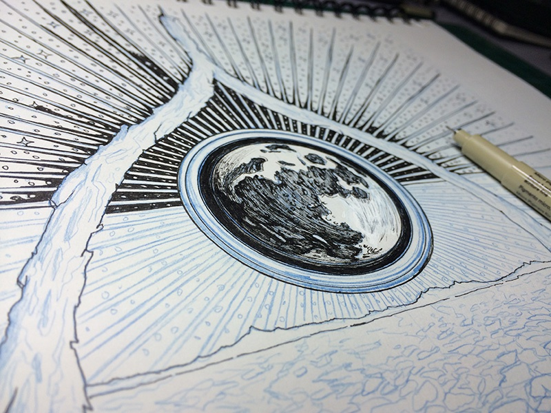 Reverend Mothers : EP1 : Process 01 illustration drawing pen ink sci-fi moon space music album cover