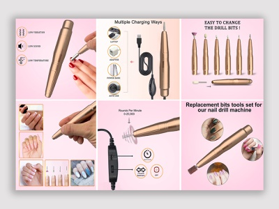 Product listing for amazon nail drill product presentation product manipulation product listing product design ui graphic design ebay product amazon product infographics nail drill product nail drill vector logo artwork art coloring branding illustration digital illustration design