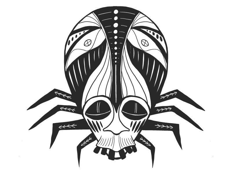 Spider mask spider blackandwhite mask african graphic vector illustrator illustration