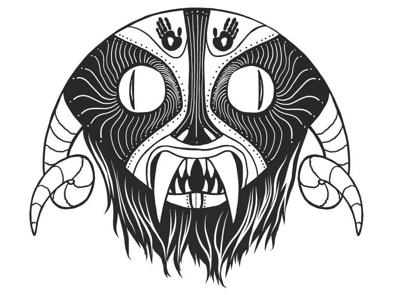 Scarymask blackandwhite mask african graphic vector illustrator illustration