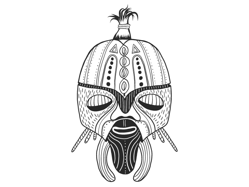 Wise mask. draw drawing blackandwhite mask tribal african graphic design graphic vector illustrator illustration