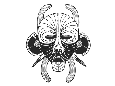 Spiky mask draw drawing blackandwhite mask tribal african graphic design graphic vector illustrator illustration