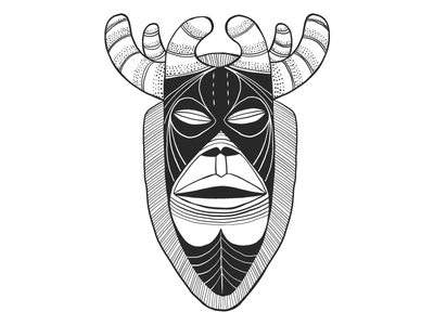 Stag mask draw drawing blackandwhite mask tribal african graphic design graphic vector illustrator illustration