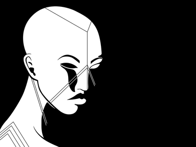 Geometric Face Painting II woman white vector tribal illustrator illustration hair geometric black african