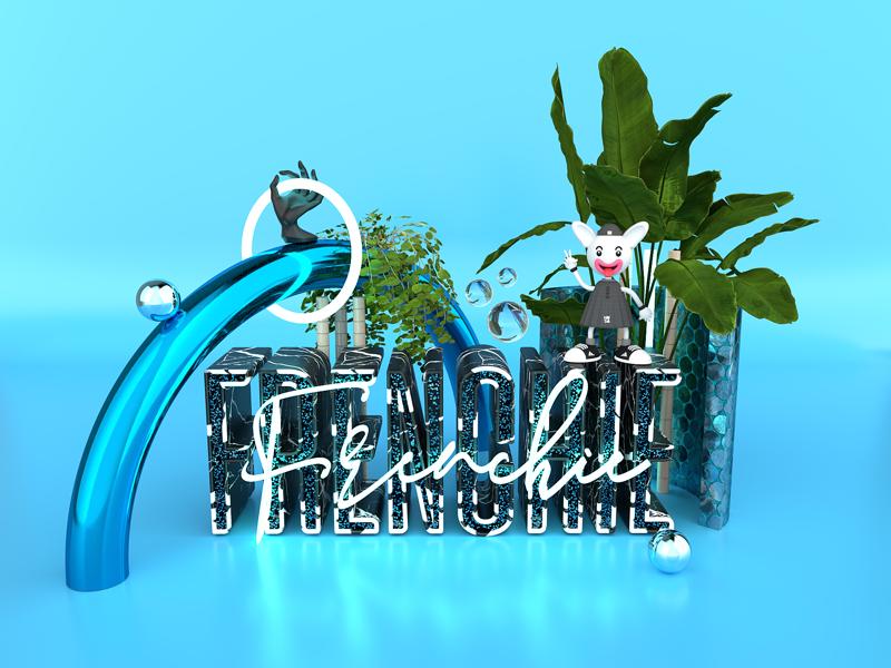 Frenchie3D Art Direction blue digital artist designer adobe dimension adobe render art direction 3d