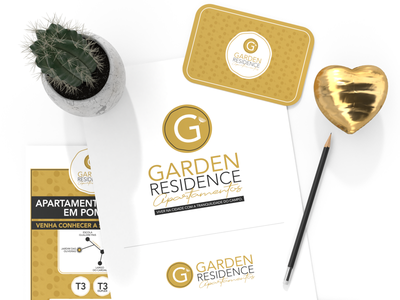 Garden Residence Branding gold minimal apartments logo branding luxury graphic design