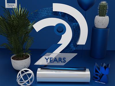 NUSA 2 Years 3D Composition type render illustrator digitalart 3d blender classicblue pantone adobe design