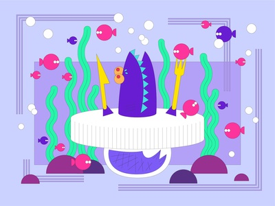 ED WORLD sharp artwork illustrator shark rock bubble hungry waterplant fish dinner purple sharp digital illustration design character adobe illustrator character design animals illustration