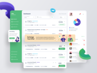 Dashboard of Financial Business Exchange Portal navigation 3d donut banner message chat job board financial finance minimal dashboad admin web application application redesign card ux design app ui
