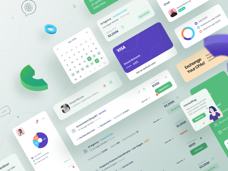 CPA dashboard - Kit gradient redesign ux design ui library component chart 3d dashboard application kit ui kit card design system
