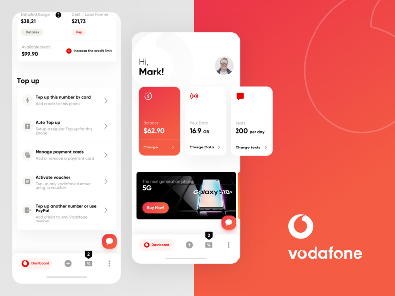 Redesign Vodafone mobile app by Farshid Darvishi on Dribbble