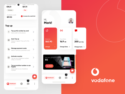Redesign Vodafone mobile app card dailyui redesign tab android ios component sim card operator dashboard app dashboard ux ui application app