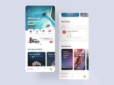 Redesign Snapptrip Application travel app bus train flight hotel booking ecommerce red gradient application app android ios ux uiux ui snapptrip snapp design redesign