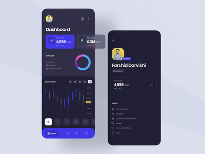 Redesign of Shakepay profile chart gradient card pallete colorful creative redesign shakepay ethereum bitcoin app android ios dark app dark ui ui currency crypto