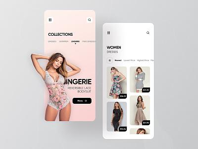 VENUS: Unique Women's Clothing & Swimwear App minimal ux ui redesign online shop service app ecommerce swimming shop lingerie clothing rondesign service