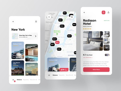 SnappTrip Mobile App Redesign ux ui design gallery cards search hotel map booking app redesign