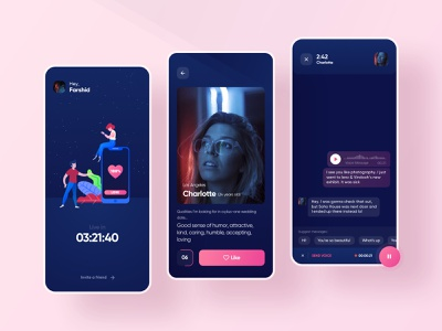 Redesign Dandy (Dating App) app redesign illustration gradient ux application design ui dark dandy date friend dating