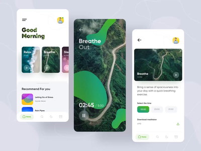 MedMind Interaction vector shape wave redesign player meditation meditate concept abstract ux ui smooth simple product design motion minimal interaction card app animation