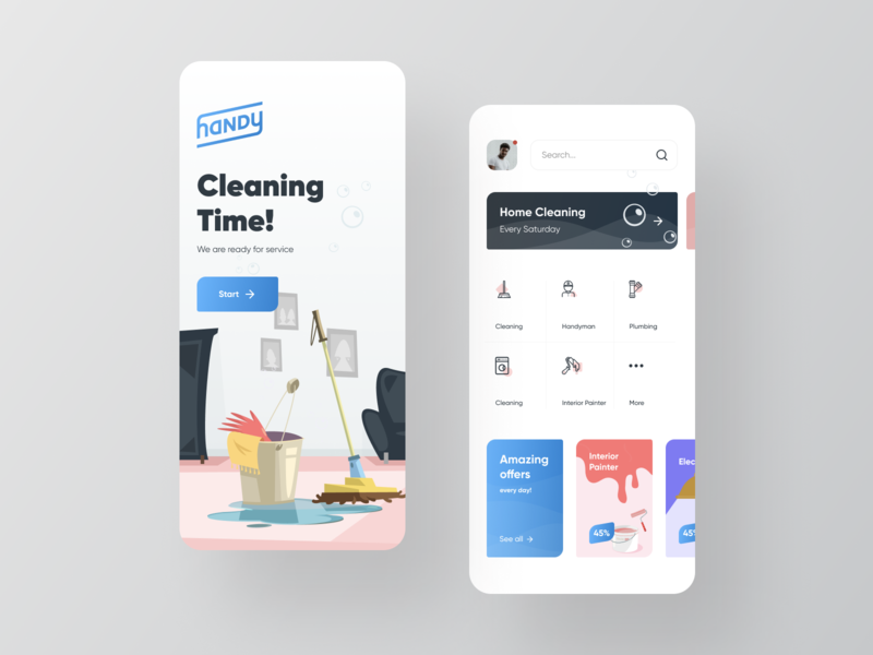 Handy - House Cleaning & Handyman Services card application design wave gradient illustraion ux ui handyman home services home cleaning android ios redesign app
