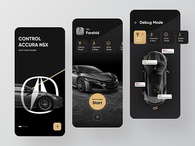 Acura NSX 2020 App accura minimal ios gradient app ux redesign dark ui design smart card ui car