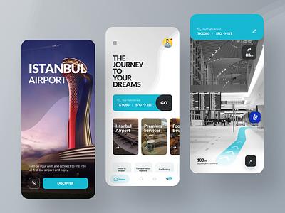 İGA - İstanbul Airport app redesign navigation minimal ios wave app design card abstract ux uiux ui ar ar app redesign