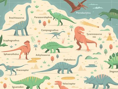 Dinosaur Chart vector dinosaurs map illustration dinosaur