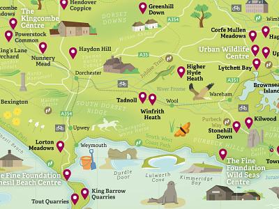 Dorset Wildlife Trust Nature Reserve Map nature illustration wildlife outdoors dorset nature maps vector map illustration