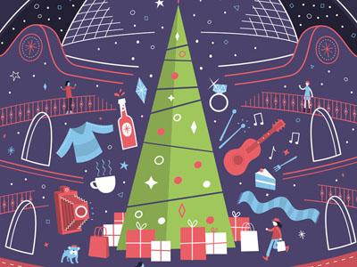 Corn Exchange Christmas vector illustration retail shopping corn exchange leeds christmas
