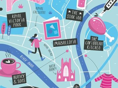Illustrated map of Bath uk city maps vector illustration map bath