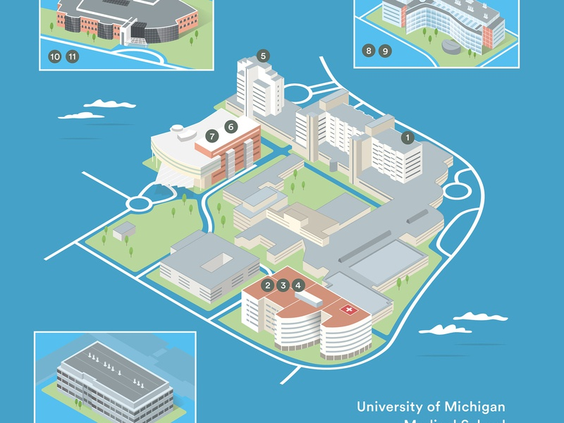 University of Michigan Medical School 3D Map campus map campus university university map michigan vector illustration 3dmap isometric map