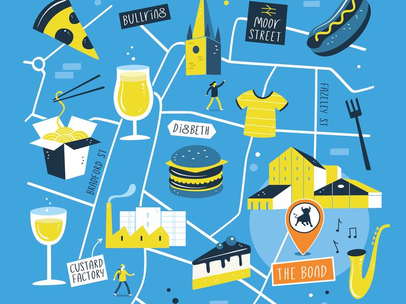 Independent Birmingham Festival poster vector food festival illustration map maps festival poster poster drink food festival birmingham