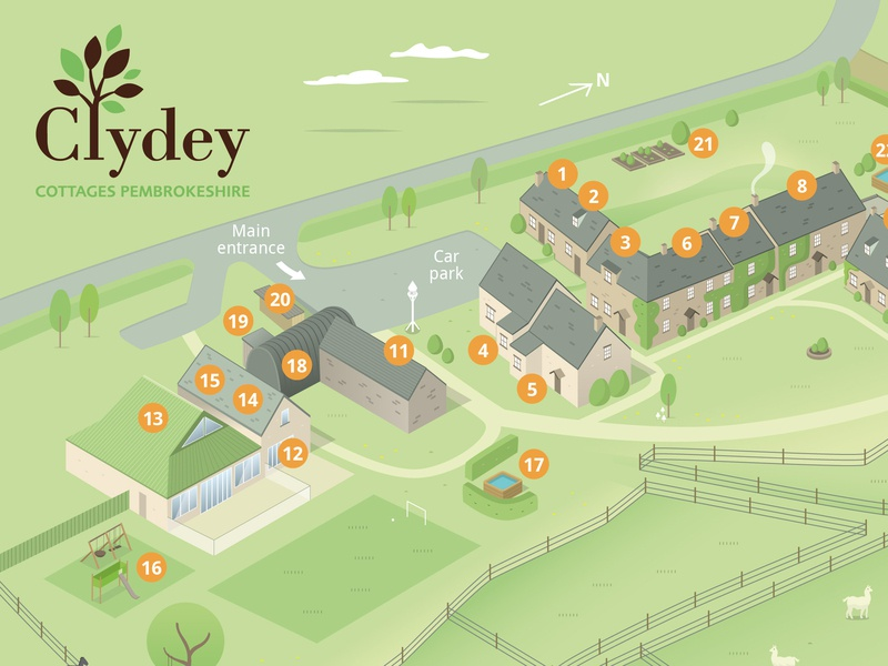 Clydey Cottages Holiday Resort Map 3d map hotel map resort map resort hotel isometric buildings vector map illustration