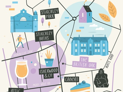 Stirchley Illustrated Map uk buildings maps city vector map illustration birmingham stirchley