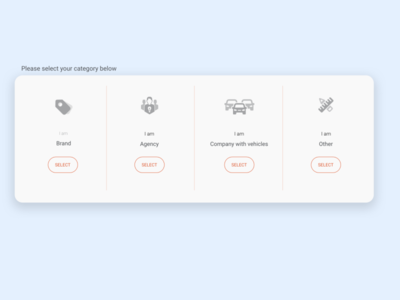 Select Category Concept - default state