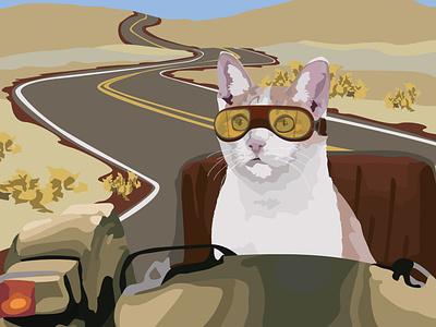 Side Cart adobe illustrator fresh cat absurd adobe design drawing graphic design illustration