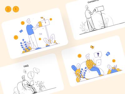 Illustrations for an NFT platform blockchain crypto nft graphic design illustration design