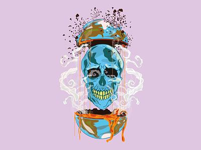World Skull draw vector illustration design